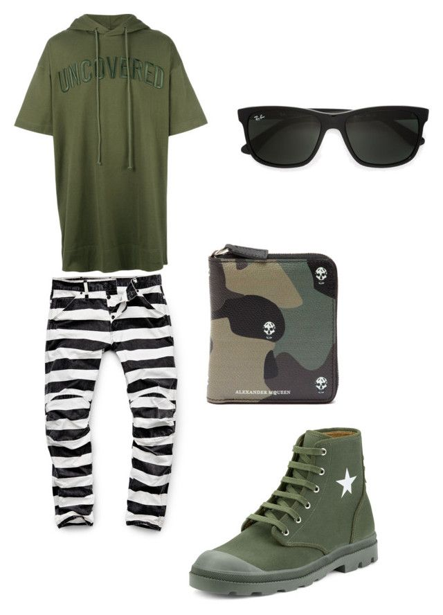 """""""militar"""" by gerardojuarezcarbajal on Polyvore featuring Juun.j, G-Star Raw, Givenchy, Ray-Ban, Alexander McQueen, men's fashion and menswear - only saved this cause those pants!"""