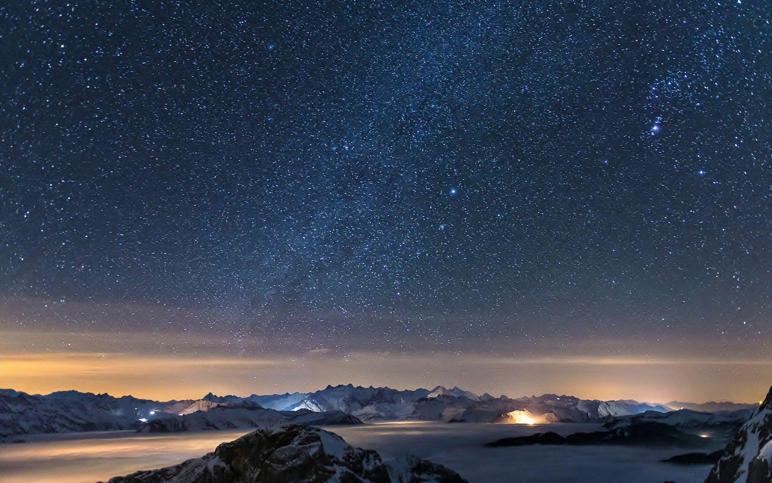 Cosmos Galaxy Night Landscape Landscape Background Landscape Wallpaper