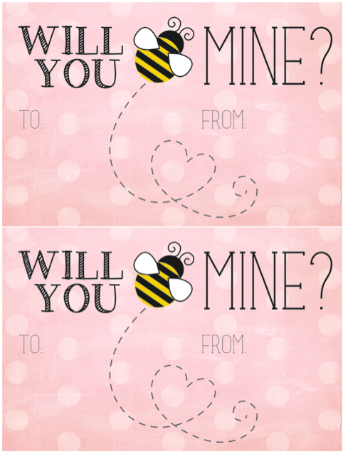 60 Free Valentines Day Class Card Printables for Children – Bee Mine Valentine Card