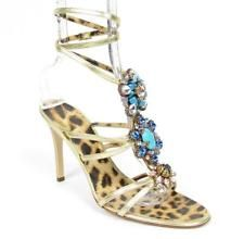 Roberto Cavalli Jeweled Bead Crystal Gold Leather Heel 39 Strappy Wrap Sandal ~ Wish the heels were shorter, or that they were on a shorter, wider wedge for me!