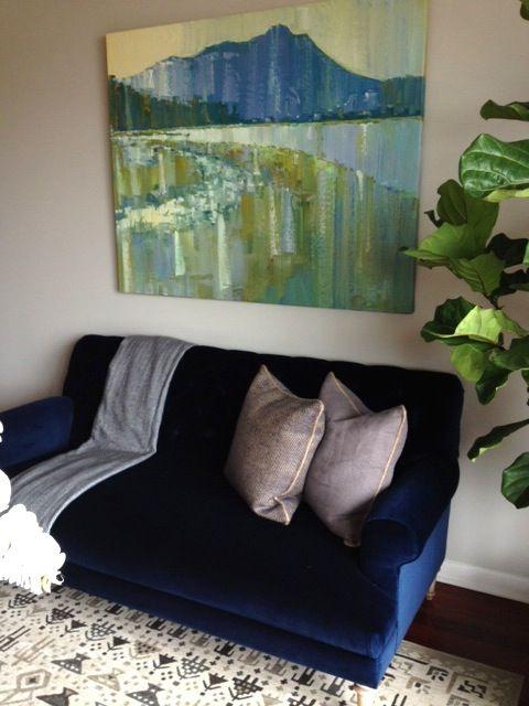 Artwork And Navy Blue Velvet Sofa With Herringbone Throw Navy Blue Velvet Sofa Blue Velvet Sofa Blue Sofa