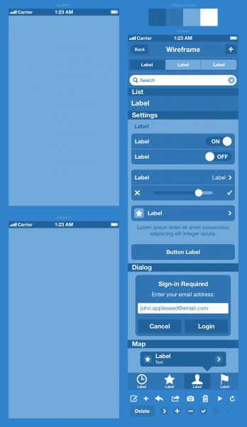 How To wireframe an iphone app in sketch -- download iphone wireframe ui kit
