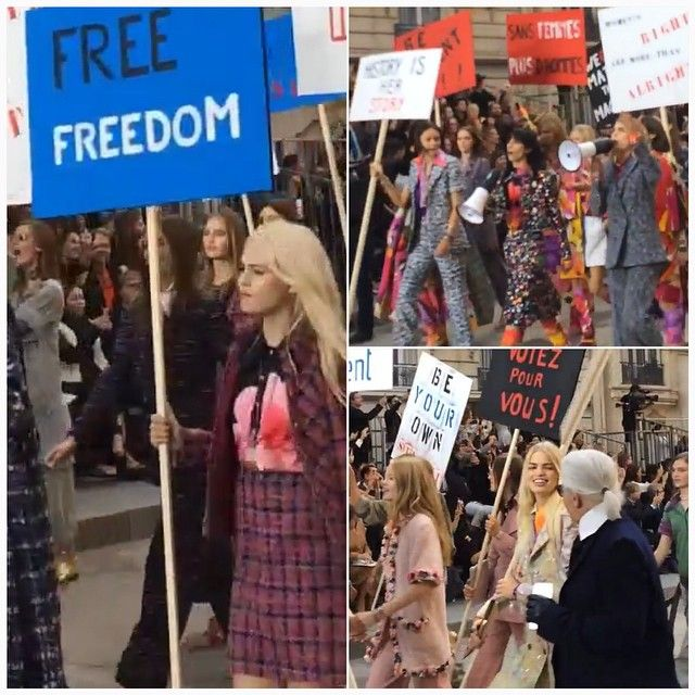 Chanel #feminist #revolution #pfw #ss15 #pretaparis #paris #fashionblogger #luxury #blog #instafashion #catwalk #blogger #work #womenswear #models #runway  #fashion #defilè  #fashionweek #glamour #style #fashionshow #rtw #karllagerfeld #finale #chanel