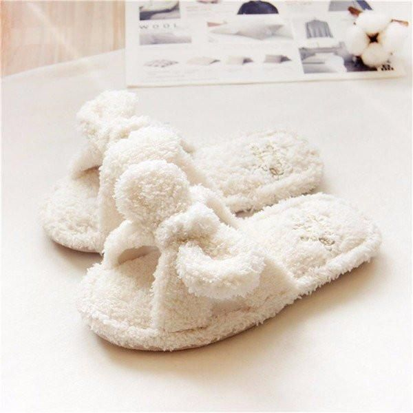 Cute Bowknot White Slip On Open Toe