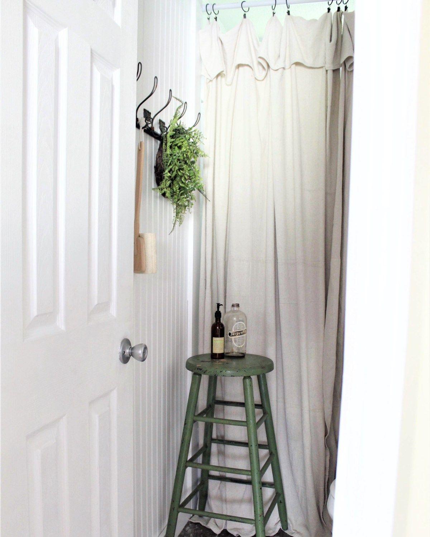 Drop Cloth Shower Curtain Farmhouse Bathroom Makeover Bathroom