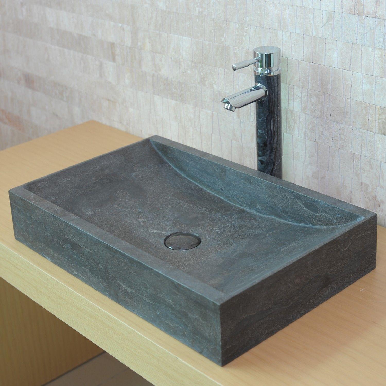 vasque pierre grise Vasque à poser en pierre rectangulaire LEN - Calcaire gris foncé