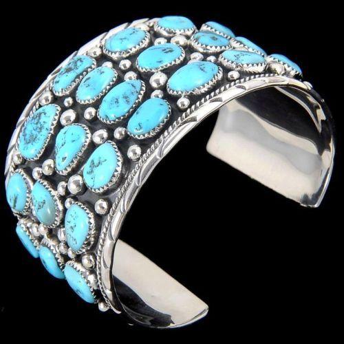 935944e62a083 Details about HUGE Navajo Natural Turquoise Cluster Mens Bracelet ...