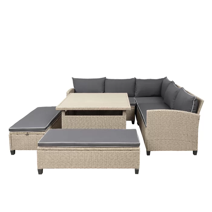 Abrahams 6 Piece Rattan Sectional Seating Group With Cushions Seating Groups Patio Furniture Sets Patio Sectional