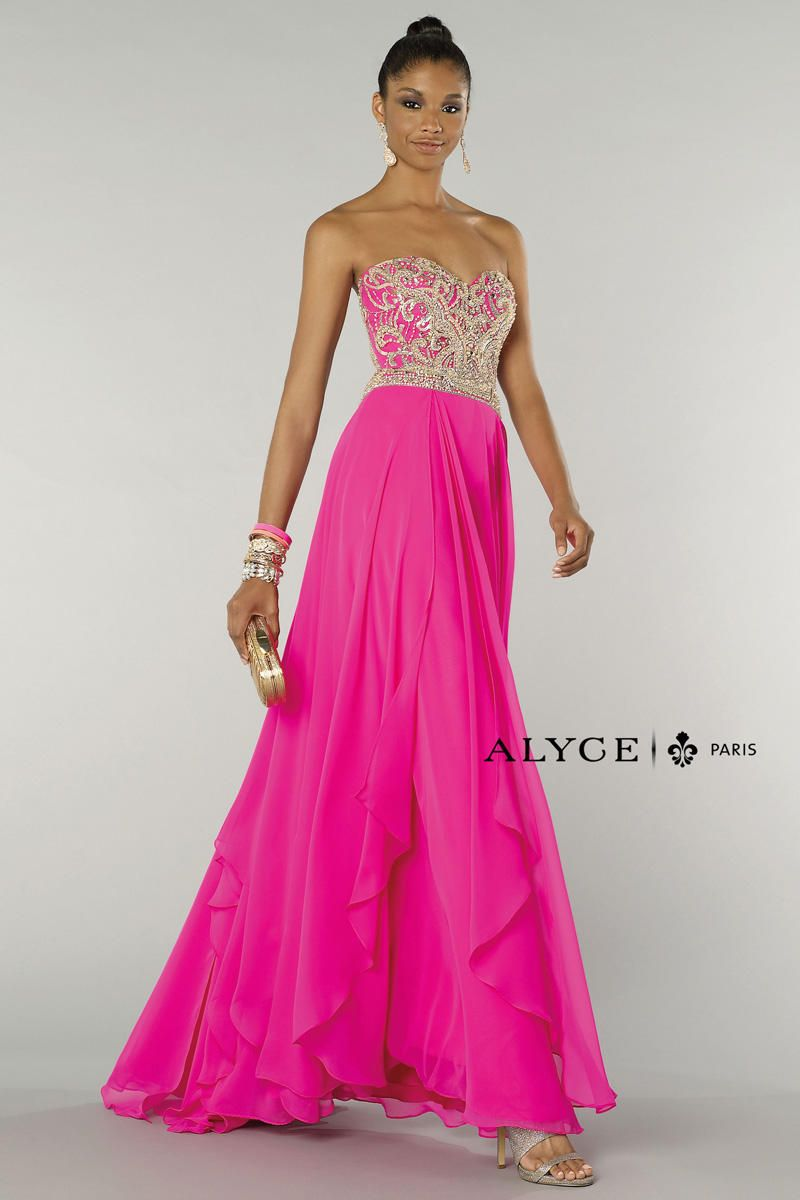 Alyce paris chiffon gown with sequin bodice french novelty