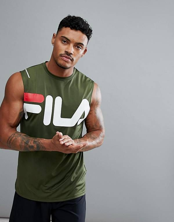 Camiseta sin mangas verde con logo grande Line Sport de Fila Black |  DETAILS CLOTHING | Pinterest | Camisetas sin mangas, Cortes largos y  Camisetas