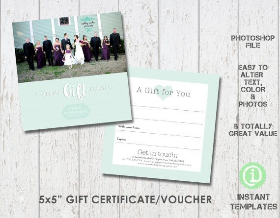Photography Gift Certificate Voucher Template, Photoshop Template - photography gift certificate template