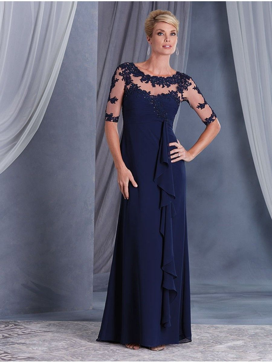85e5ea963c Long Navy Blue Illusion Bodice Lace Chiffon Mother of The Bride Dresses  907012