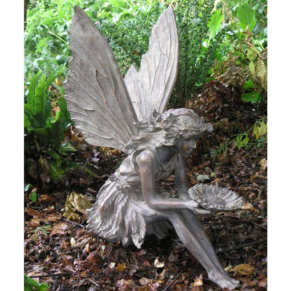 Captivating Large Sitting Fairy Resin Garden Statue