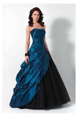 Images of Black And Blue Prom Dress - Reikian