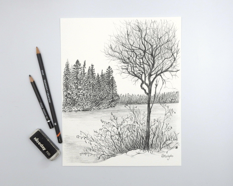 Original Winter Landscape Tree Pencil Drawing Tree Wall Art Decor