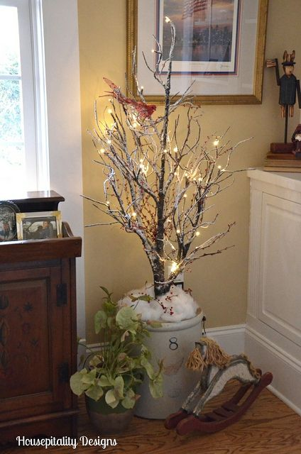 Fun to put a tree in a unique container | Country christmas decorations, Christmas decor diy ...