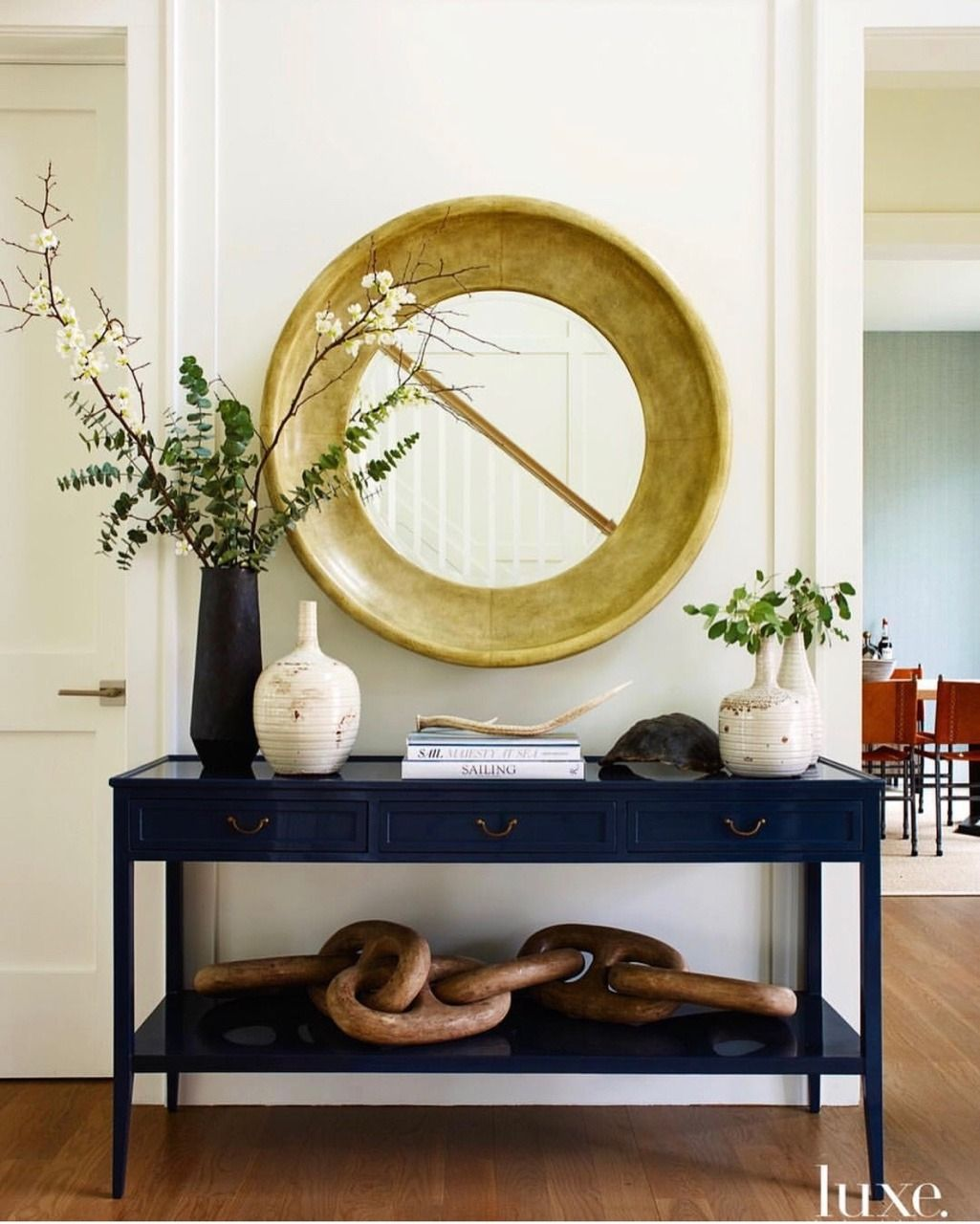 Pin By Inspired Living Spaces Kara A On Make A Grand Entrance Decor Blue Console Table Foyer Decorating