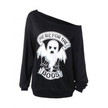 Skew Collar Ghost Print Halloween Sweatshirt -