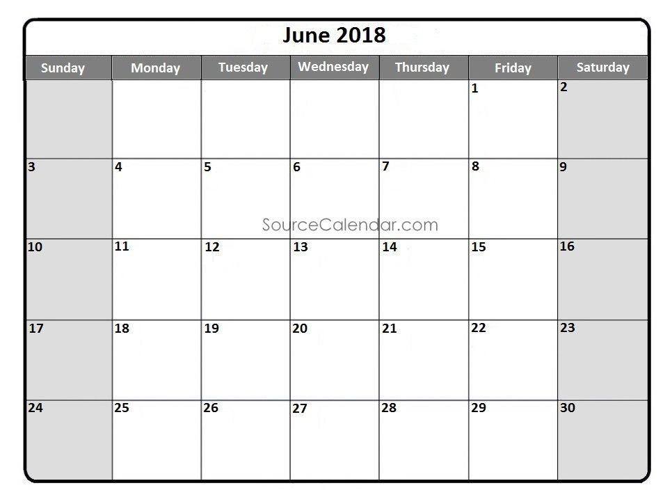 Printable June 2018 Calendar Template Pdf Download With Holidays