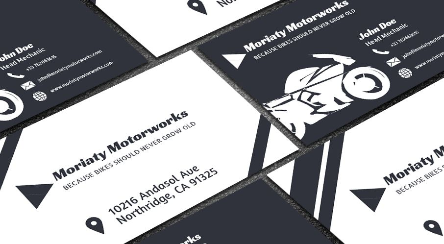 Free automobile business card business cards business and template edit this single color motorcycle repair template online with your branding to get a reheart Gallery