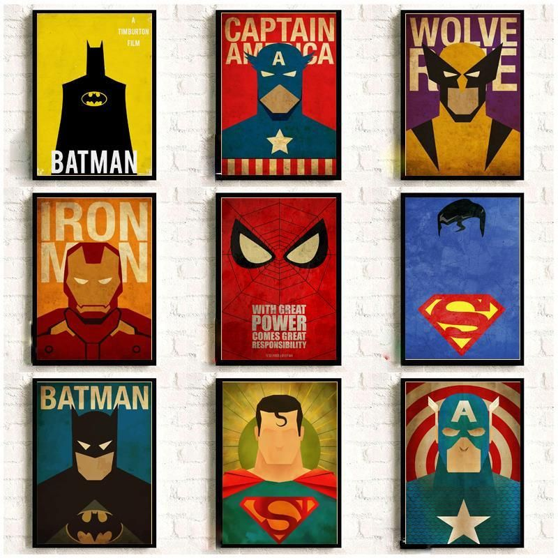 Marvel Minimal Super Heroes Vintage Posters For Home Decor Kraft Paper High Quality Poster Wall Sticker Superhero Room Marvel Wall Art Vintage Posters Decor