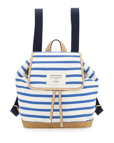 kate spade new york broome rogers way molly striped backpack, classic blue/cream