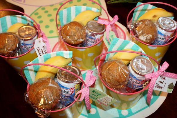 Cute Teacher Appreation Idea - Rise and Shine Bucket includes muffin, banana, yogurt, spoon and napkin