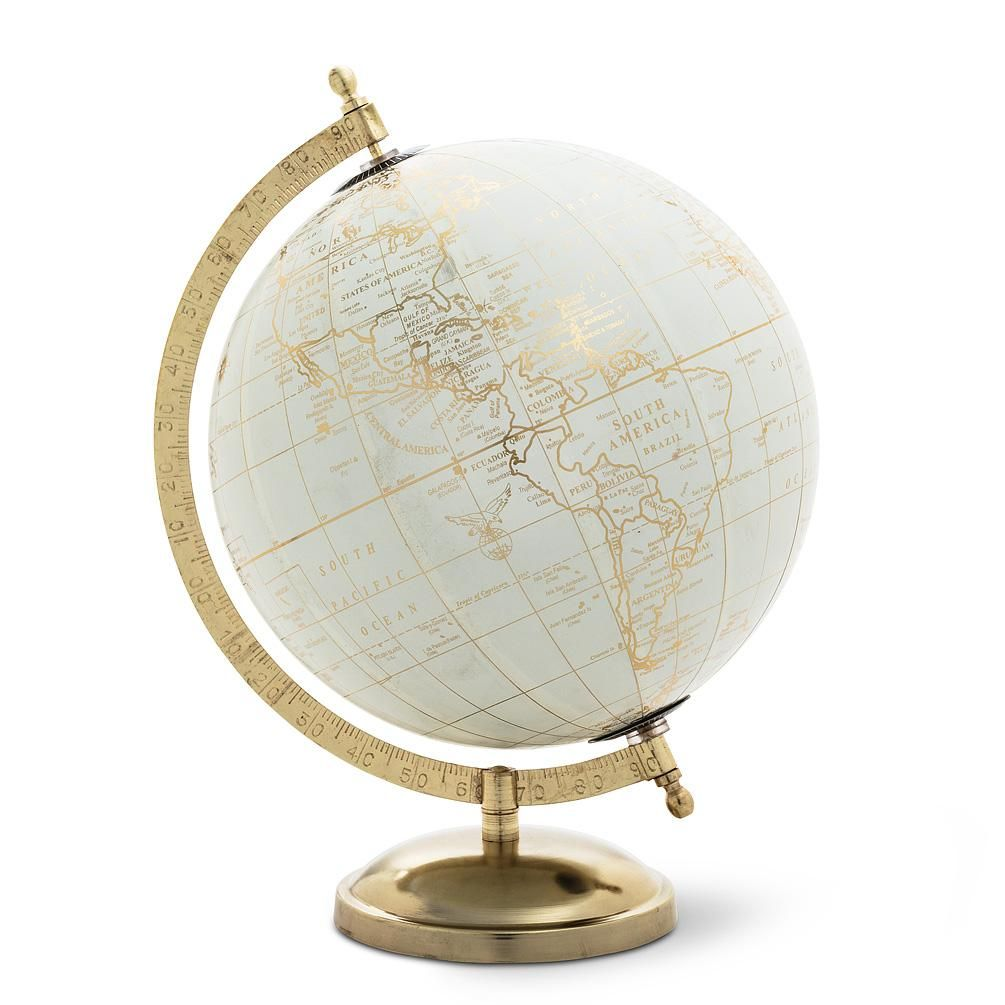 Globe on Stand - Ivory & Gold  Globe decor, Gold globe