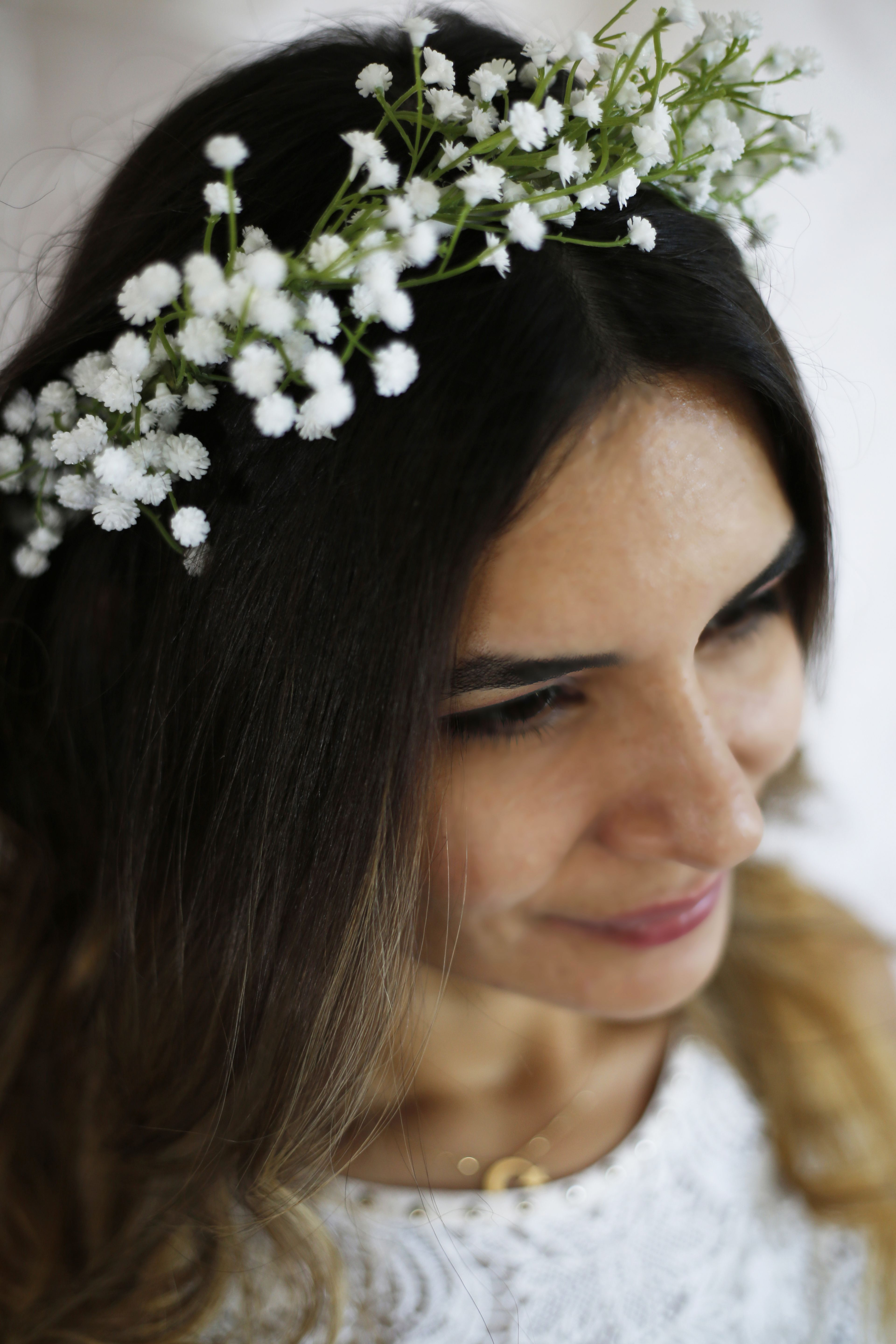A Floral Half Crown Composed Of Eucalyptus Babys Breath And Blush Ranunculus Flowers Also Available I Flower Crown Wedding Bridal Flower Crown Floral Crown