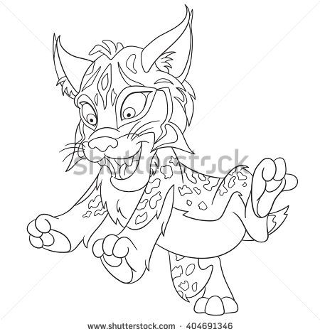 Cute And Happy Smiling Wildcat Lynx Bobcat Isolated On A White