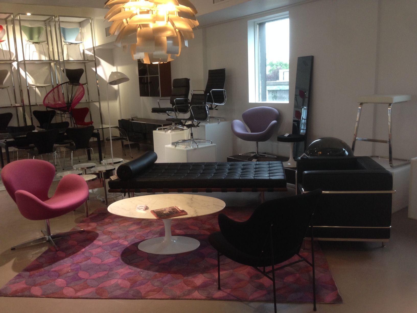 Larson Kofod Chair, Arne Jacobsen Swan Chairs In Fuchsia And Purple With  Coordinating Custom Starburst