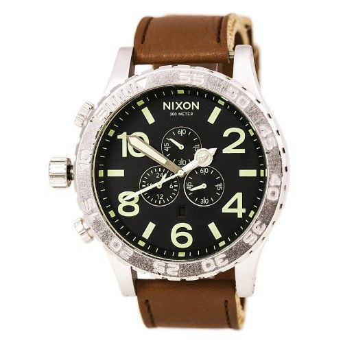 Nixon Steele Tops: Nixon Men's '51-30' Stainless-Steel Leather-Strap