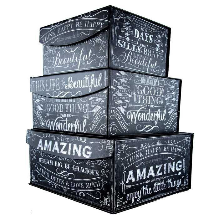 Genial Black U0026 White Chalk Art Storage Box Set