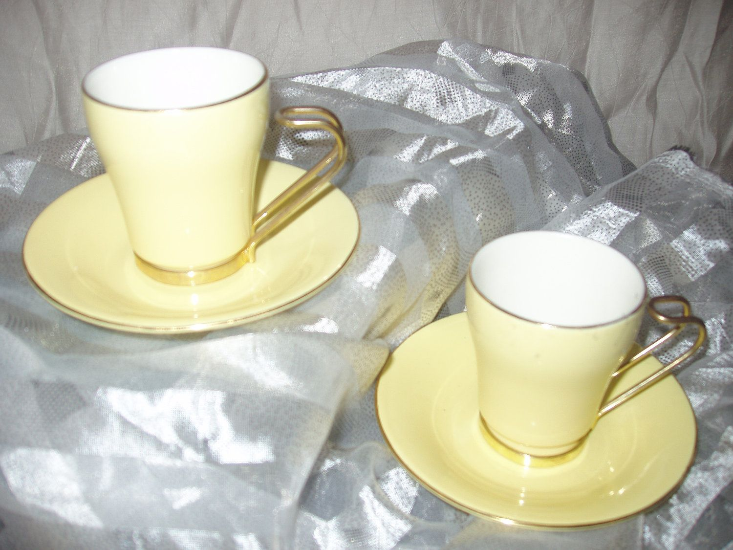 Tea Cup And Saucer By Gna Fine Porcelain Price Reduced Glass