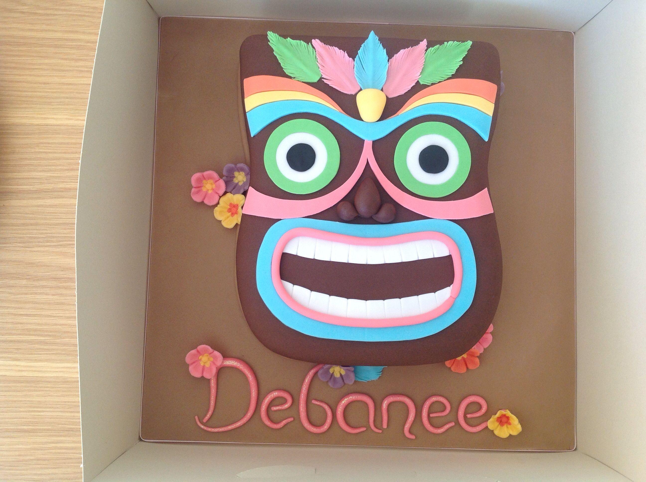 Tiki Mask Birthday Cake  Luau, Hawaii