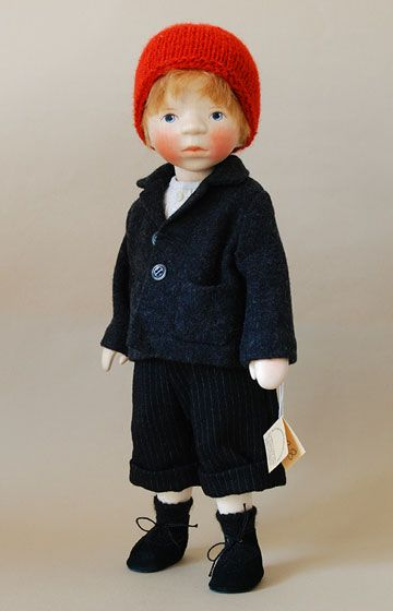 Boy In Navy Jacket H338 by Elisabeth Pongratz at The Toy Shoppe