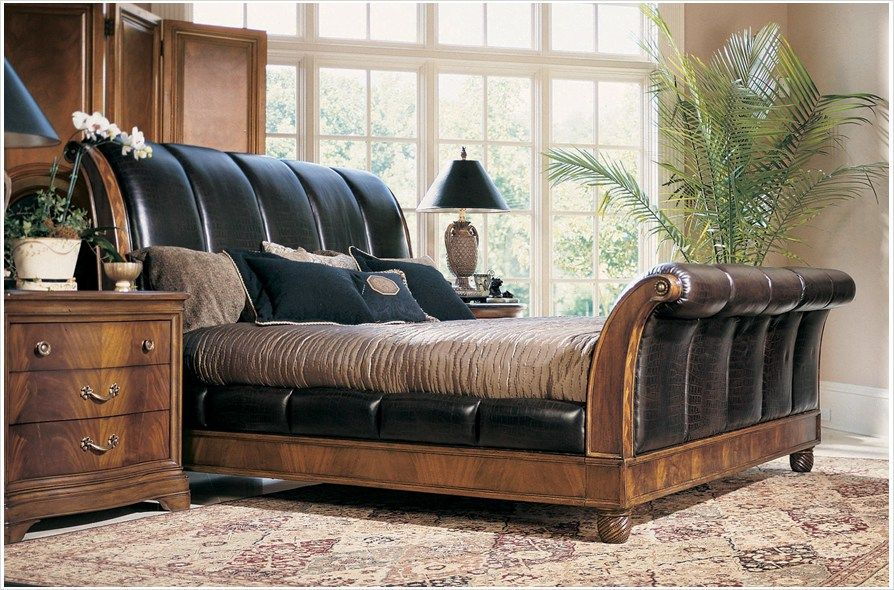American Drew 581 30x Bob Mackie Clics Sleigh Bed W Crocodile Pattern Embossed Leather Panels