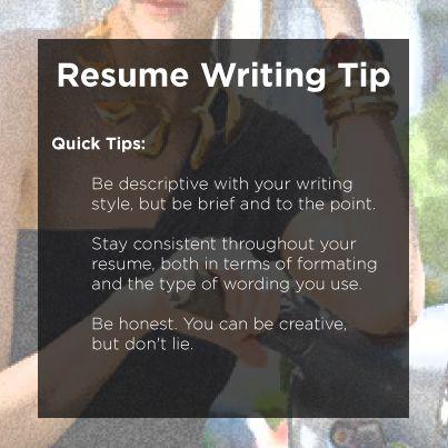 Quick Tips on Resume Writing Resume Tips Pinterest Resume