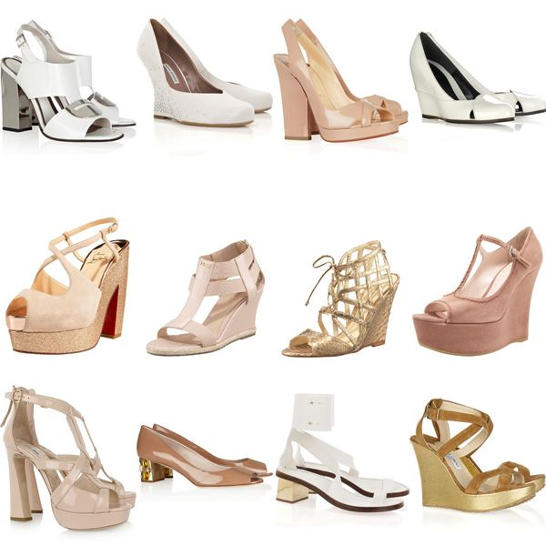 1 Marni Mirrored Heel Sandals 179 2 Tabitha Simmons Satin Wedge Pumps 287 3 Christian Lo Wedding Shoes Platform Outdoor Wedding Shoes Bride Shoes