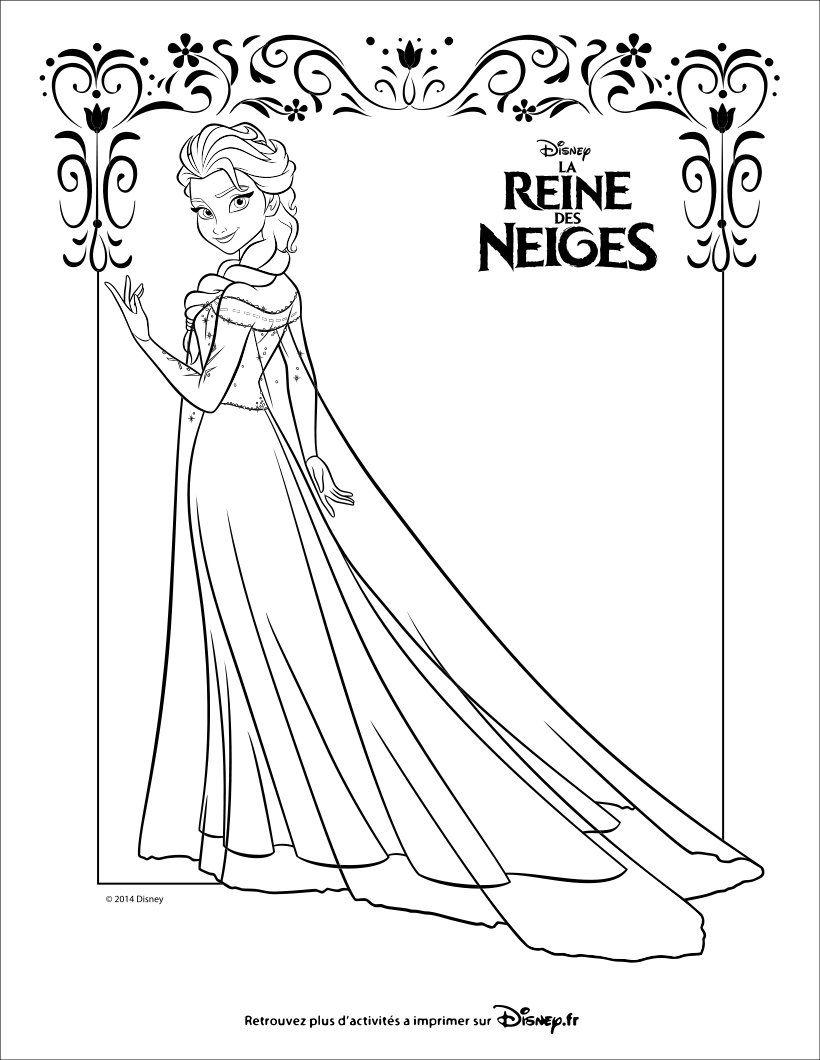 Voil un beau coloriage de la Reine des Meiges d Elsa dans sa belle robe