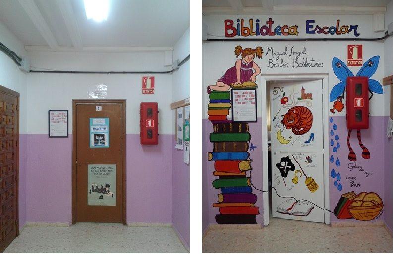 Antes y despu s de la puerta de entrada a la biblioteca for Decoracion de puertas escolares