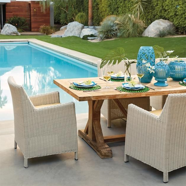 Hyde Park 7-pc. Farmhouse Dining Set in Ivory Finish - Hyde Park 7-pc. Farmhouse Dining Set In Ivory Finish Outdoor