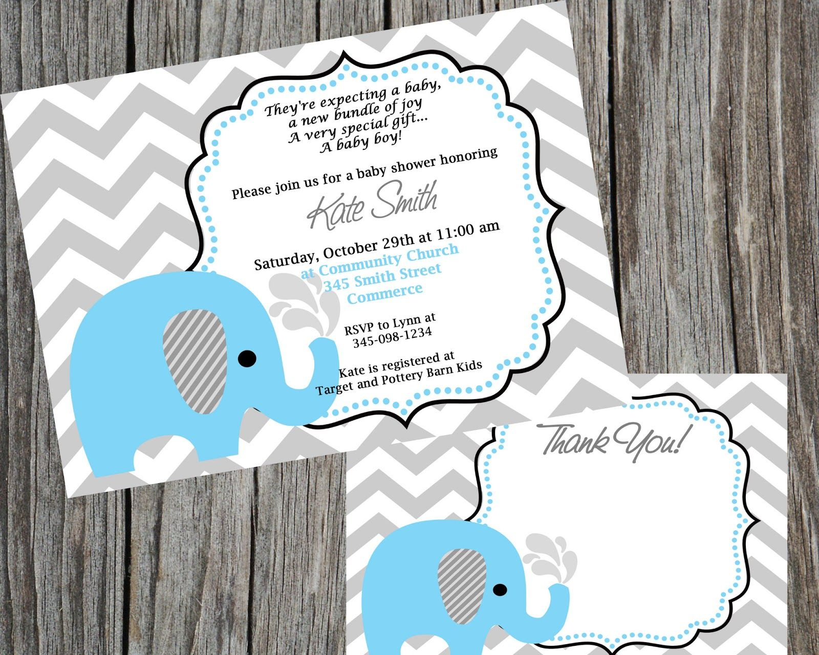 Blue Elephant Baby Shower or Birthday Party theme from Cohen Lane ...