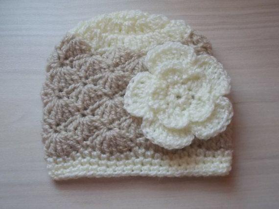 Crochet baby hat baby girl hat newborn girl hat by eanddcreation