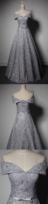 Long formal dresses grey offtheshoulder formal dress lace