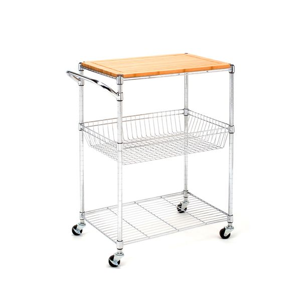 Seville Classics Kitchen Utility Cart With Bamboo Top   Overstock™ Shopping    Big Discounts On