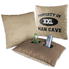 Every house needs this. Pocket Pillow, Pillow Beverage Holder, Man Cave Pillow