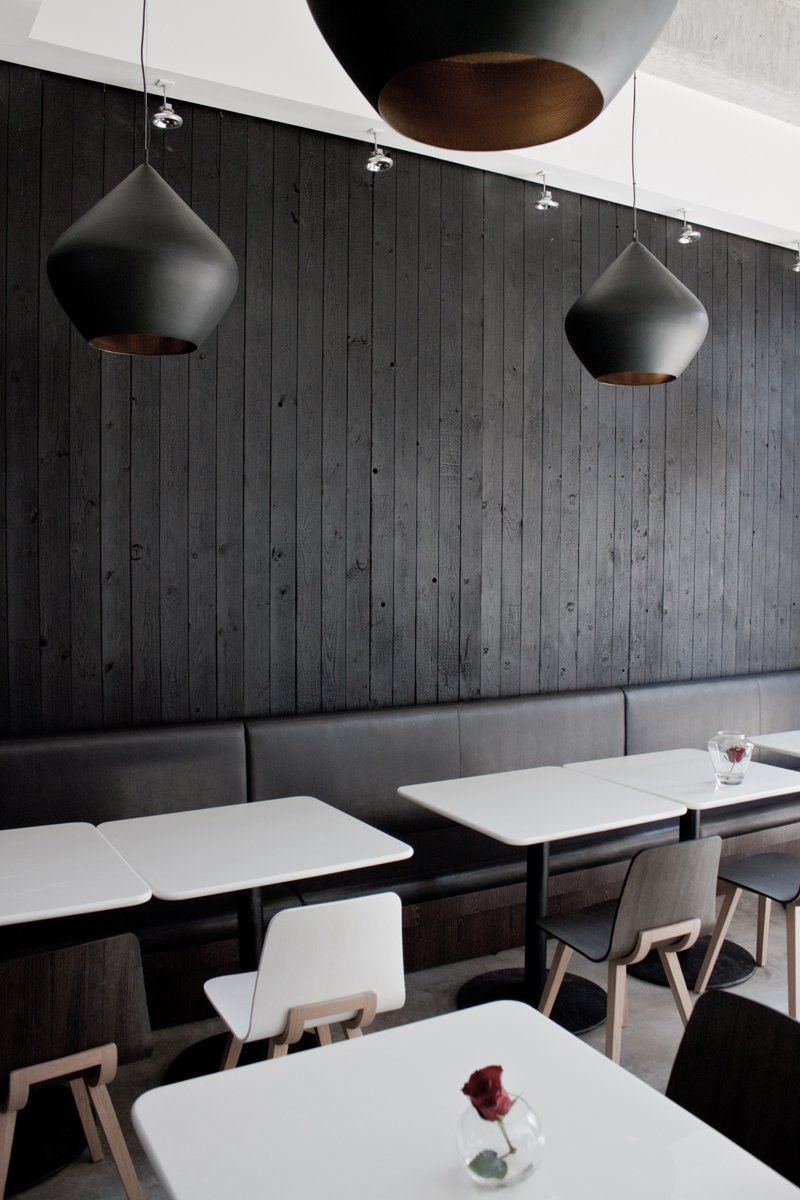 interior obsessions – painted wood walls | restaurants, black