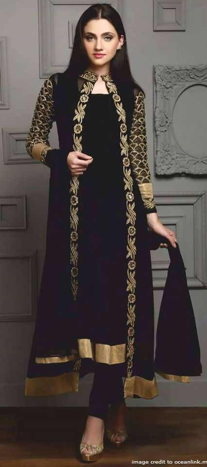 Z Fashion Trend Black Long Jacket Style Party Wear
