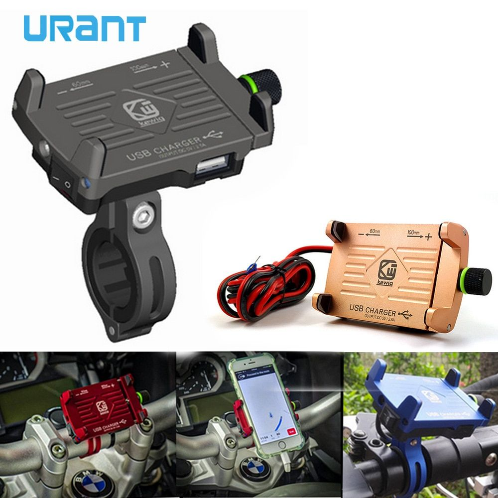 Urant Phone Holder Mobile Stand For Motorcycle Support Usb Charger
